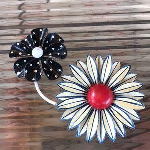 Vintage Enamel Pins Brooches Lot of 2 Flowers